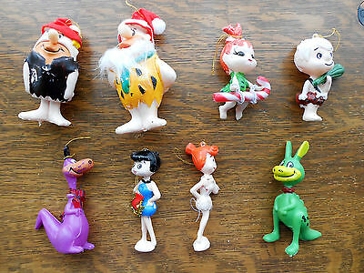 Vintage 70's Hanna Barbera Flinstones Plastic Christmas Tree Ornaments