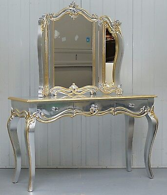 Nice Silver & Gold Leaf Detailed & Painted French Louis Dressing Table & Mirror