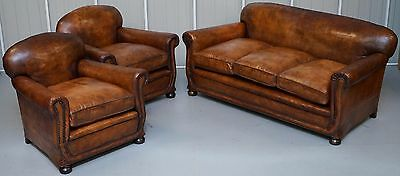 Circa 1910 Edwardian Chesterfield Club Leather Three Piece Suite Armchairs Sofa