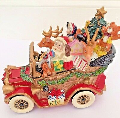 """Fitz and Floyd Musical Santa's Classic Car """"We Wish You A Merry Christmas""""!"""