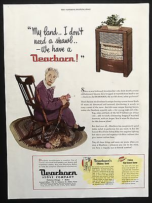 1949 Vintage Ad DEARBORN STOVE COMPANY Illustration Woman Knitting Rocker