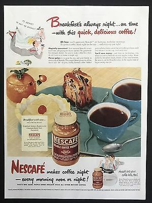 1949 Vintage Print Ad NESCAFÉ Instant Coffee Illustration Man Suit Flying