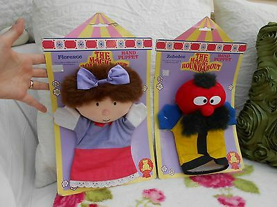 Vintage 1993 MAGIC ROUNDABOUT,hand puppets ZEBEDEE & FLORENCE on CARDS,rare toys