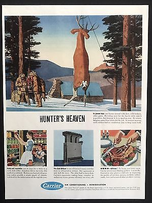 1949 Vintage Ad CARRIER Air Condition Refrigerator Deer Hunting Winter Snow