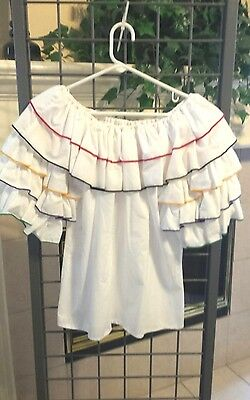 VTG SQUARE DANCE Blouse Sz S White by Fancy Fashions with  rumba RUFFLES