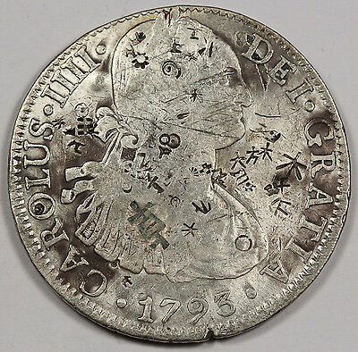 MEXICO 1793 MO FM Carolus IIII 8 Reales Silver Coin VF w/Lots of Chopmarks