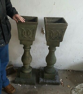 Pair of Large Stone Pedestal Planters