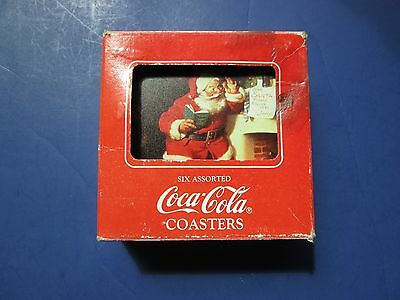 Used:  Six Assorted Coca-Cola Brands Coasters-Santa Claus Theme, 1990, COKE