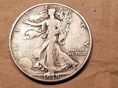 1938 d Walking Liberty Half Dollar 50 Cents Silver Coin fifty 1/2 VF VERY FINE