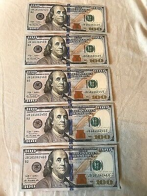 Sequential/Consecutive Uncirculated 2009 Bill Lot ~(5) 100 Dollar Notes
