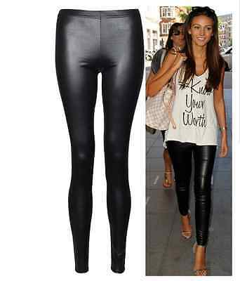 Full Length Shiny Wet Mat Look Faux Imitation Leather Leggings Pants Size 6-20