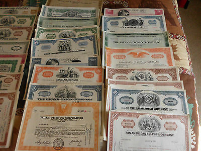 OLD MIXED STOCK CERTIFICATES -- From the 40s to 70s
