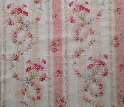 Antique French Pink Floral Bouquet Striped Fabric