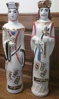 Set of 2 1969 Ezra Brooks Kentucky Whiskey Royal Flush King and Queen Decanters