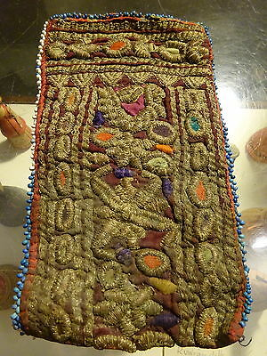 Antique Central Asia Metallic Thread Embroidery Textile Pouch Purse Afghan