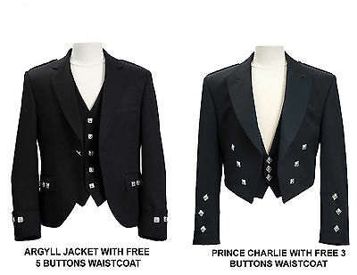 WOOL BlendScottish Argyle Kilt Jacket/ Prince Charlie Jacket-WITH FREE WAISTCOA