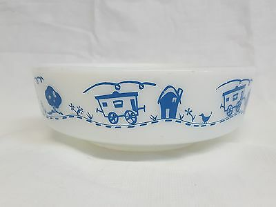 Vintage Pyrex Blue Trains Bowl Ovenware 1 Pint Bowl Train Pattern 1416