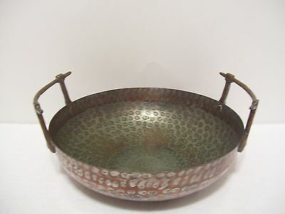 Large Hammered Copper/nickle Plated Antique Bowl Made In Turkey
