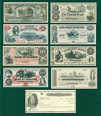 9 American Bank Note Company (ABNC) Intaglio Prints of Obsolete Banknotes