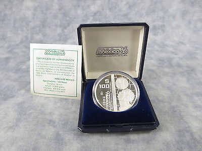 100 Pesos World Cup Commemorative (Mexico 1986) Silver Proof Coin (MCM, 1985)