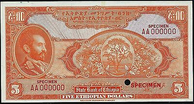 ETHIOPIA P-13cts 1945 5 DOLLAR COLOR TRIAL SPECIMEN