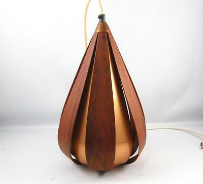 Vintage Mid Century Danish Modern Teak & Copper Ceiling Light Lamp Fixture