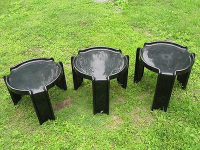 VINTAGE 1960-70`s GIOTTO STOPPINO KARTELL 3 BLACK NESTING TABLE MID CENTURY MCM