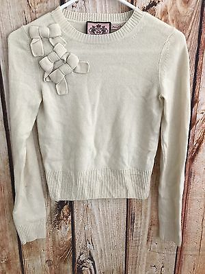 Cream Color Girls/Kids Juicy Couture Bow Sweater Size 7/8