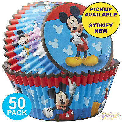 Mickey Mouse Roadster Party Supplies 50 Cupcake Baking Cups Wrappers Patty Pans