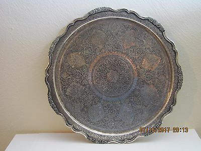Finest Engraved Persian Solid .875 Silver Tray Signed. 635 Grams 20.4 toz.