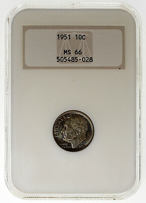 1951 10C Roosevelt Silver Dime NGC MS66