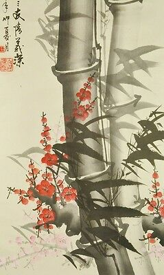 """Chinese Painting Scroll 62"""" Pine Bamboo Plum Ink Antique Art Picture China b600"""