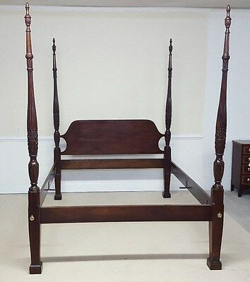 Councill Craftsmen Queen Bed Rice Carved Poster Mahogany
