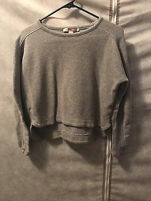 Women's Forever 21 Size S Solid Gray Long Sleeve Cropped Sweatshirt