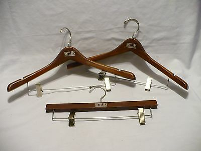 """2 METTLERS 17"""" Solid French Collar Wooden Clothes Coat Suits & 1 Clamp Hangers"""