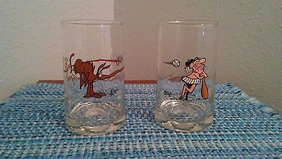 Set of 2 Arby's 1981 BC Comic Promo Glasses Wiley Anteater
