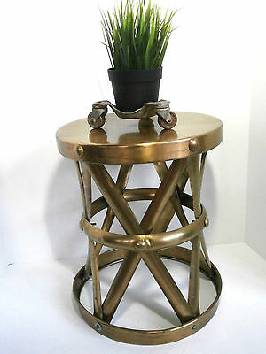 VIntage Brass Stool Mid-Century Modern X-Base Drum Plant Stand End Table