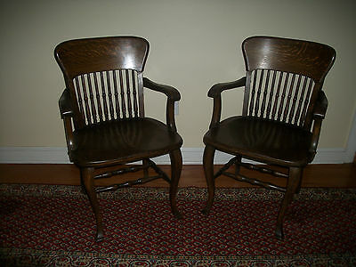 Pair of Antique Lawyers Bankers Library Solid Oak Desk ARM CHAIRS
