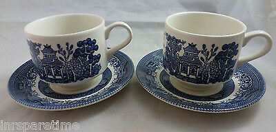 Churchill England Blue Willow Cup & Saucer Set Of 2
