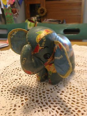 Vintage Stuffed Oilcloth Toy Elephant