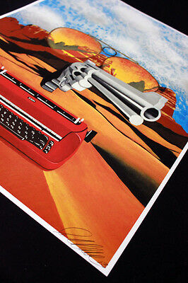 original painting,wall decor surreal art,Hunter S Thompson,gun art signed print