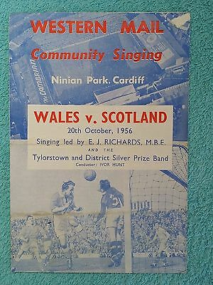 1956 - WALES v SCOTLAND COMMUNITY SINGING SHEET - BRITISH CHAMPIONSHIPS