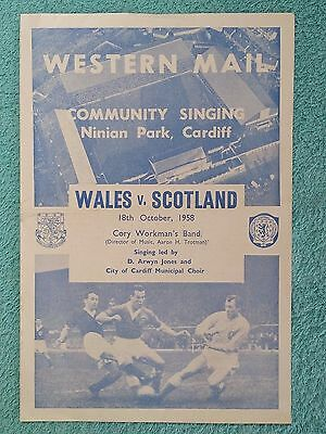 1958 - WALES v SCOTLAND COMMUNITY SINGING SHEET - BRITISH CHAMPIONSHIPS