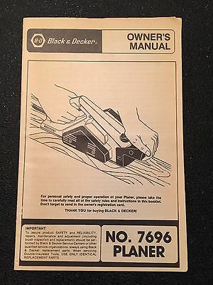 Vintage 80s Black & Decker Planer No 7696 Owner's Manual Users Instruction Guide