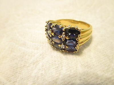 Oval Blue Purple Sapphire Main Stone Gold Tone  925 Sterling Silver Ring Size 8