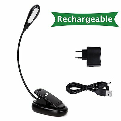 USB Rechargeable LED Light Clip-on Beside Bed Table Desk Reading Book Lamp