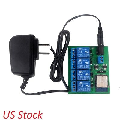 ESP8266 ESP32 4 Channel Wifi Bluetooth Relay Module+6V 0.6A Charger US Stock