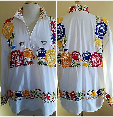 Vtg 70's Mexican Peasant Blouse White Cotton Embroidered Florals Mushrooms 2XL