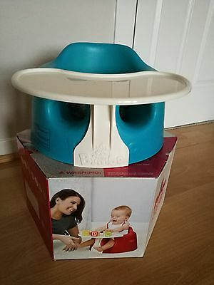 Bumbo Floor Seat and Play Tray Combo - Blue with straps