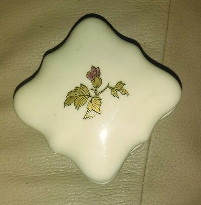 vintage square trinket box with red and gold rose